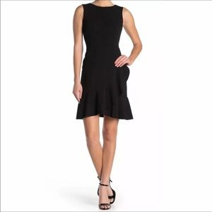 Tommy Hilfiger Black Ruffle Hem Crepe Dress